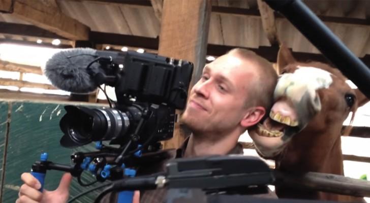 Cameramanul nu a reuşit deloc să filmeze interviul, cineva în spatele lui avea alte planuri. Imagini amuzante.
