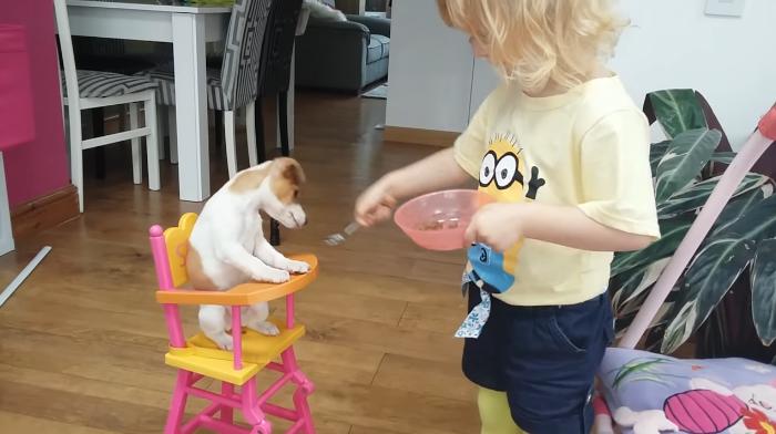 Fetiţa lor iubeşte animalele şi aceasta este modul adorabil prin care îşi hrăneşte căţelul.